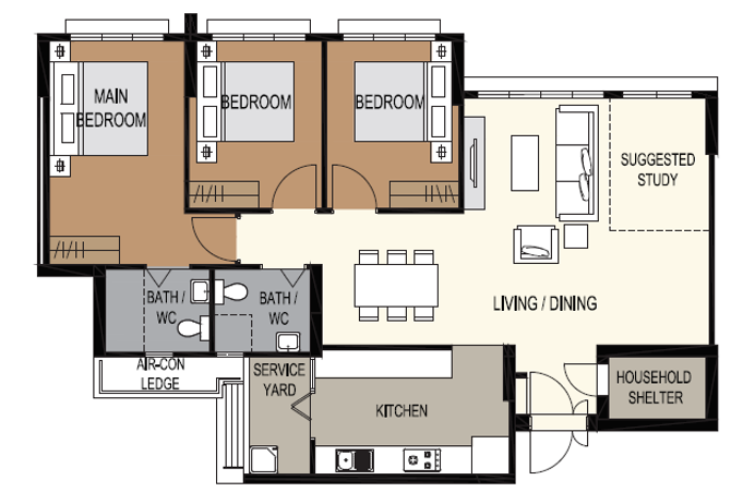 typical 5-room bto layout
